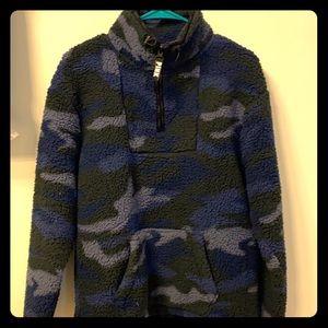 Vs pink blue camo half zip sweater